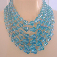 SALE Vintage Sky Blue Lucite Faux Crystal Bead Bib Necklace / Multi Strand / Jewelry / Jewellery