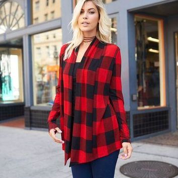 Lovely J elbow patch red plaid cardigan