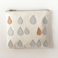 RAIN// Small zipper clutch/ Canvas pouch with leather applique