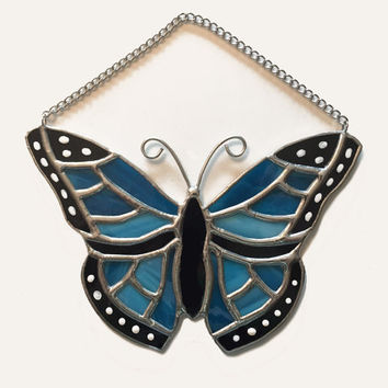Handmade Stained Glass Blue Butterfly Suncatcher