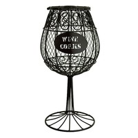 Boston Warehouse Metal Wine Glass Cork Holder (Black)