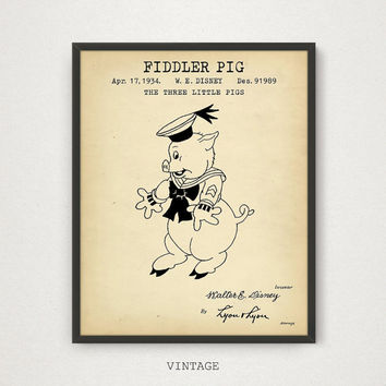 Fiddler Pig, The Three Little Pigs, Cartoon Character - 2/3, Funny Animal, Disney Fairy Tale, Kids Room Decor, Children Gifts, Funny Pig Art