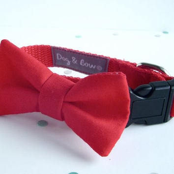 Red Dog Collar with Removable Bow Tie