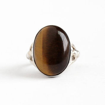 Vintage Sterling Silver Tiger's Eye Cabochon Gem Ring - Retro 1950s Size 4 3/4 Large Brown Oval Gemstone Statement Studded Shoulders Jewelry