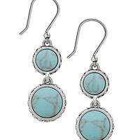 Lucky Brand Turquoise Double Drop Earrings - Silver