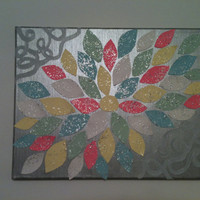"""Glitter Pastel Flower Painting 11""""x14"""" on Silver Background with Metallic Grey Accent Lines"""