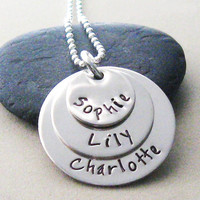 Personalized Sterling Silver Layered Necklace - Mommy Jewelry - Children's Names - Hand Stamped Jewelry