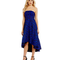 JS Collections Strapless Jacquard Gown | Dillards