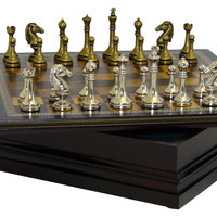 World Wise Imports Metal Staunton in Wood Chest Chess Set - Traditional - Board Games And Card Games - by Beyond Stores