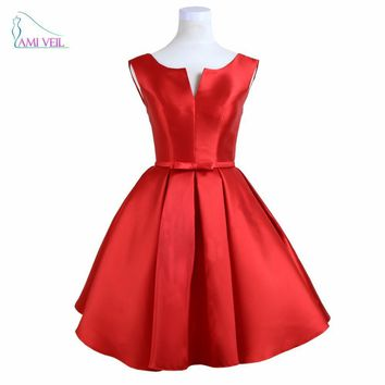 Red Mini Cocktail Dresses Party Short Prom Dress 2017 Girl Graduation Gowns Cheap Coral Color Nude Cocktail Vestidos CourteGQ701