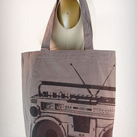 Grey Boom Box Tote Bag | PLASTICLAND