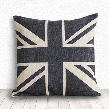 Pillow Cover, Union Jack Pillow Cover, Pillow Cover, Linen Pillow Cover 18x18 - Union Jack - 117