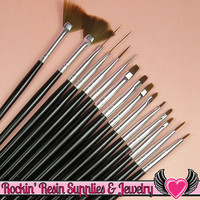 15 pcs NAIL ArT BRUSHES Gloss Black / Dotting Painting Liners Drawing and Fan Brushes