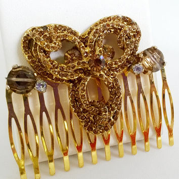Re Purposed Tabac Crystals and Rhinestone Hair Comb Accessory Spray Gold Tone OOAK