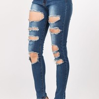 Curvy/Plus High Rise Destroyed Denim Jeans