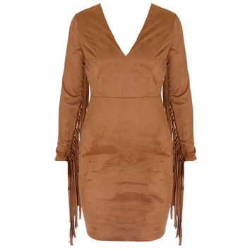 Faux Suede Fringe Sleeve Mini Dress, Camel