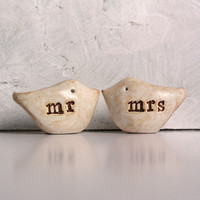 Wedding cake topper...Love birds... mr and mrs ... READY TO SHIP