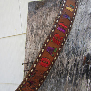 "70s Circle Y Tooled Western Leather Belt Name ""Darryl"", W24 W26 W27 / 60-70 cm // Disco Cowboy Belt // Name Belt"