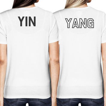 Asian Yin and Yang Matching Best Friends BFF Women's White shirt Back Print