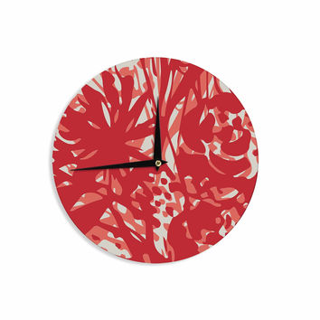 "Patternmuse ""Inky Floral Poppy"" Red Coral Painting Wall Clock"