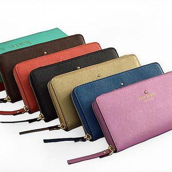 ESBON Kate Spade' Women Cowhide Purse Simple Fashion Multifunction Zip Long Section Wallet Handbag