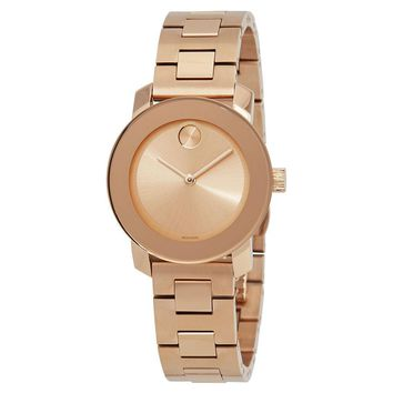 Movado Bold Rose Gold-Tone Dial Ladies Watch 3600435