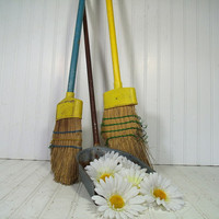 Shabby Chic Cinderella's Tools Trio - Vintage Aged Straw Brooms & Stand Up Metal Dust Pan Primitive Collection - Well Worn Fire Place Decor