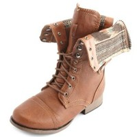 Distressed Zip-Back Combat Boot by Charlotte Russe - Cognac