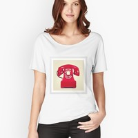"""""""red phone """" Women's Fitted V-Neck T-Shirt by jessicaivy   Redbubble"""