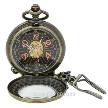 Vintage Magnifier Case Arabic Black Dial Arabic Number Hand Wind Mechanical Men Pocket Watch 17 Jewels w/Chain Reloj De Bolsillo