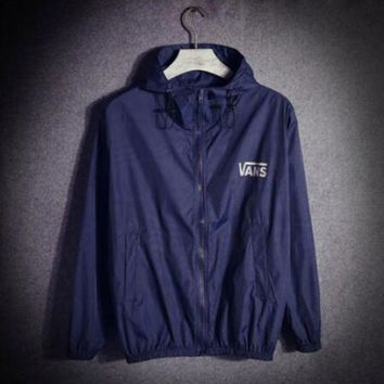 Vans off the wall Ultrathin Windbreake Prevent bask Hooded zipper Coat