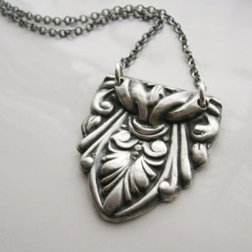 Silver Victorian style necklace, ornate medallion necklace, flourish, scroll, artisan handcrafted