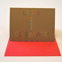 Let's Celebrate hand stitched card with tiny candle