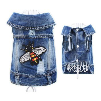 Trendy Fly Design Puppy Denim Outfit Pet Cat Jeans Vest Doggies Coat Dog Jacket Clothing Dog Clothes for Small Dogs Cowboy Costumes AT_94_13