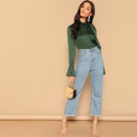 Green Asymmetrical Shoulder Knot Bell Sleeve Shirt Blouse Cut Out Stand Collar Office Lady Women Blouses