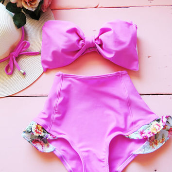 High Waisted Bow Bikini in Bubble Gum Pink bottoms & Bubble gum pink Bandeau top Cute Sexy Swimwear Retro Swimming Costume Look Hot be Cool