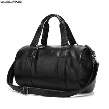 high quality leather men travel luggage bags casual men handbag vintage men shoulder bag messenger duffel bag black