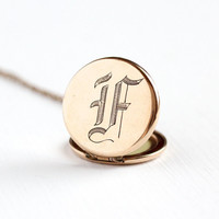 """Sale - Antique Monogrammed """"F"""" Gold Filled Locket Pendant Necklace - 1900s Edwardian Initialed Personalized Double Sided Fob Picture Jewelry"""