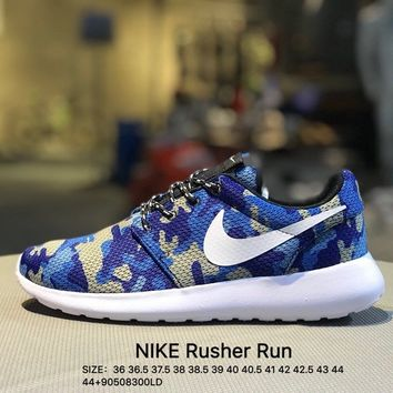 Nike roshe run couple light sports  leisure net surface breathable Rusher Run Olympic running shoes Blue Camouflage