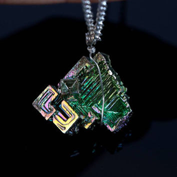 Iridescent bismuth crystal and malachite necklace - FREE SHIPPING - green bismuth jewelry - geometric bismuth necklace - polished malachite
