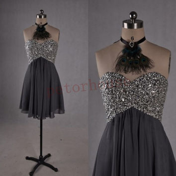 Dark Gray Beaded Short Bridesmaid Dresses 2015, Prom Dresses, Hot Party Dresses,Homecoming Dresses,wedding Party Dresses, Prom Dresses