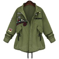 Women Military Bomber Jacket