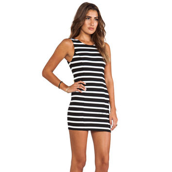 Women's Fashion Butterfly Decoration Skirt Sexy Deep V Stripes One Piece Dress [7940269511]