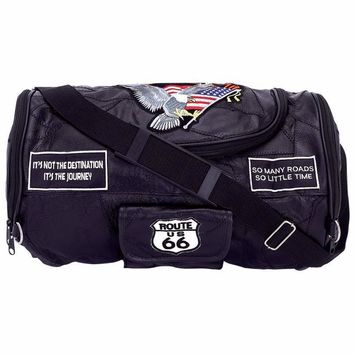 Genuine Buffalo Leather Motorcycle Barrel Bag with Patches