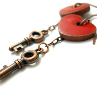 CIJ Free Shipping/Gift Apple Red earrings Skeleton key Dangles heart jewelry rustic earrings Elaine Ray ceramic and copper jewelry