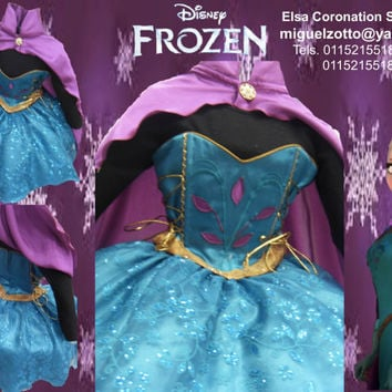Princess Elsa Ice Snow queen Frozen disney dressup costume dress ball gown flower girl glitz pageant outfit  La Reine des neiges coronation