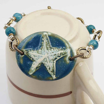 Blue starfish bracelet, brass silver mixed metal, apatite jewelry 7 3/4 inches
