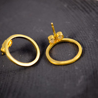 Simple gold vermeil earrings