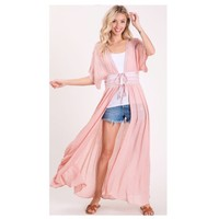 CRAZY CLOSEOUT! Classy and Sassy Lace Waist Line Blush Duster