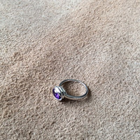 Sterling Silver Pistachio Ring with deep purple stone, High polished silver with modern and organic form